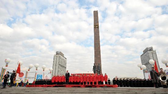 图文-奥运圣火圣彼得堡传递 开幕仪式气势宏大