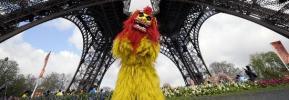 图文-北京奥运圣火在巴黎传递 埃菲尔铁塔前表演