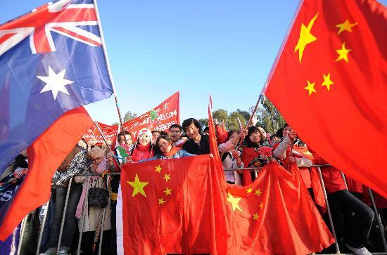 图文-圣火境外传递回顾之中国元素 堪培拉华人多