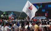 图文-北京奥运圣火在三亚传递 海南社会各界观摩