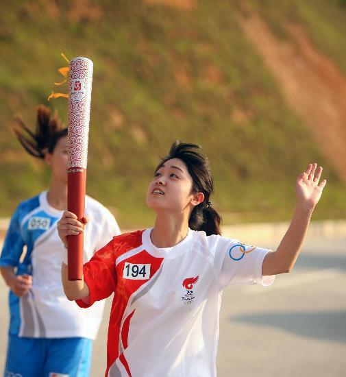 图文-北京奥运圣火在龙岩传递 我的火炬咋这么酷