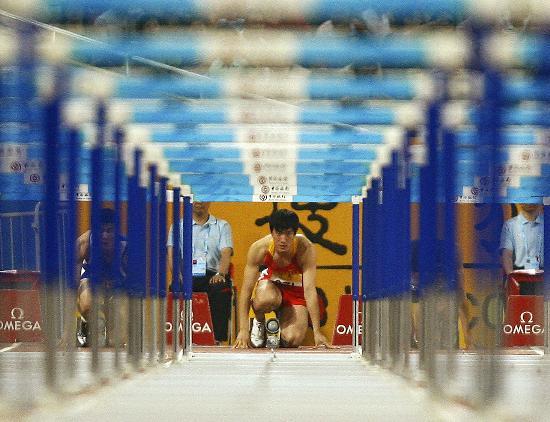 图文-110米栏刘翔轻松夺鸟巢首冠 刘翔瞄好了冠军