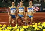 图文-美国田径奥运选拔赛首日 女子万米前三名合影