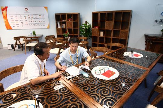 图文-中国奥委会进驻主新闻中心 奥运中国风格相融