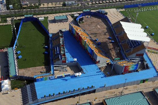 图文-航拍北京奥运场馆 宽阔的奥林匹克公园射箭场