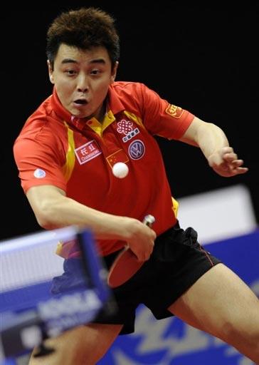 图文-王皓4-2战胜希腊老将进决赛又见标志性动作