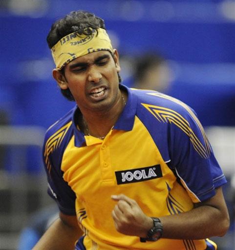 图文-世乒赛男单16强激战印度阿昌塔为自己打气
