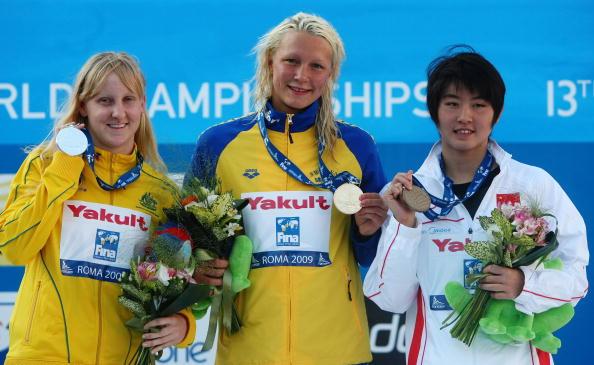 图文-世锦赛女子100米蝶泳决赛三甲选手齐聚一堂
