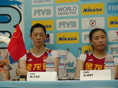 图文-世界女排大奖赛中国0-3巴西女排队员心情不好