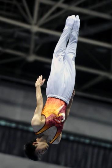图文-2009全国蹦床冠军赛叶帅最终获得第三名