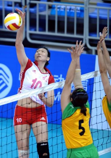 图文-全运会女排决赛天津3-1辽宁楚金玲扣小斜线