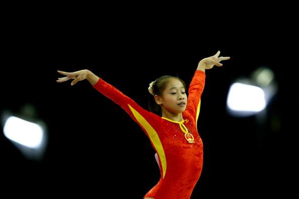 图文-女子自由体操决赛战况中国小丫展翅翱翔