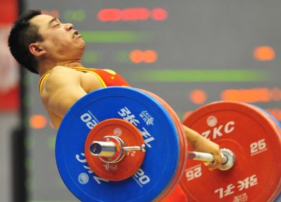 图文-男子94公斤级袁爱军获季军袁爱军用尽全力