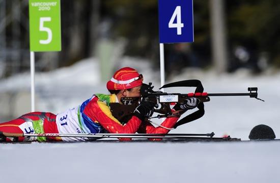 图文-冬季两项女子15公里个人赛刘显英卧式射击