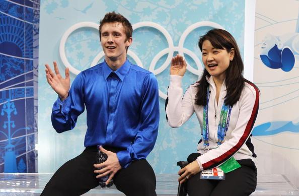图文-花样滑冰男子单人自由滑亚伯特和教练
