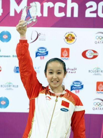 图文-中国女子包揽自由体操前二她的笑容很灿烂