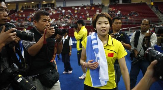 图文-尤伯杯决赛中韩争冠汪鑫带着笑容离场