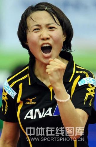图文-世乒赛日本女队晋级四强平野早矢香激动