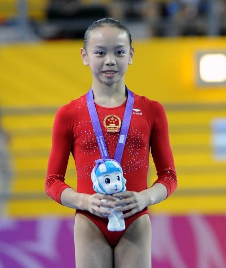 图文-谭思欣获得女子自由体操冠军登上最高领奖台