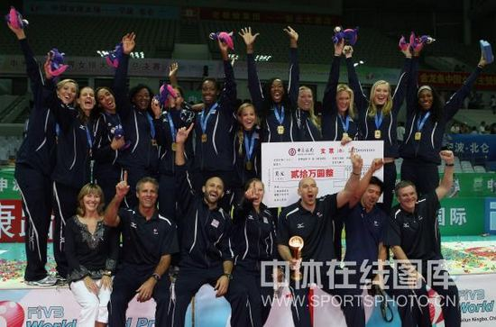 图文-世界女排大奖赛颁奖仪式冠军美国女排