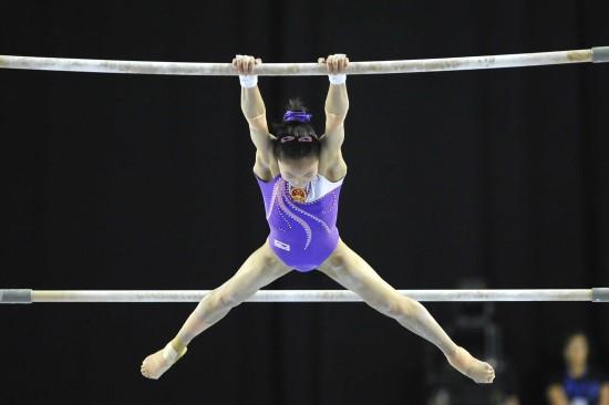 图文-体操世界杯根特站赛况吴柳芳在比赛中