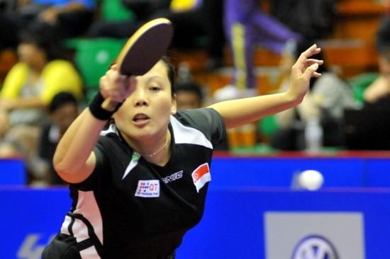 图文-女子乒乓球世界杯1/4决赛王越古横刀立马