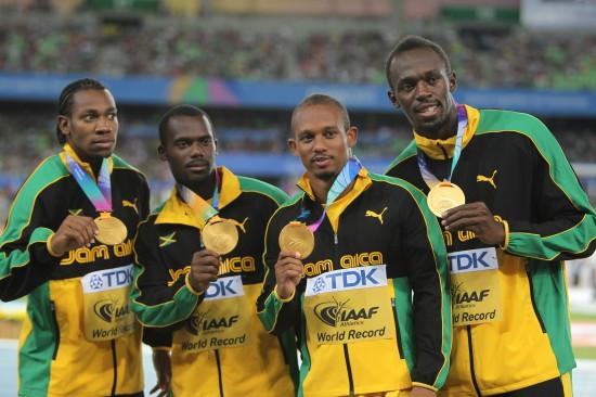 图文:-世锦赛男子4*100米接力颁奖仪式-世锦赛