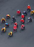 轮椅半程马拉松选手出发