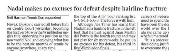 英国《泰晤士报》的报道截屏图,指出纳达尔可能因伤休战6周