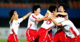 朝鲜队球员庆祝进球