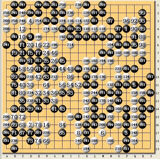 黑:刘星/唐奕 白:朴廷桓/李瑟娥 261手以下略。棋局至此已经是黑棋大胜的局面。然而白棋在这种局面下开始填子,无意义地下了二三十手之多。
