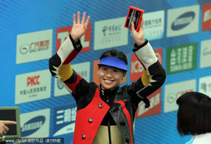 女子10米气步枪中国揽冠亚军小杜丽技压群芳夺冠