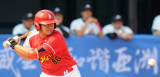 中国球员林晓帆击球