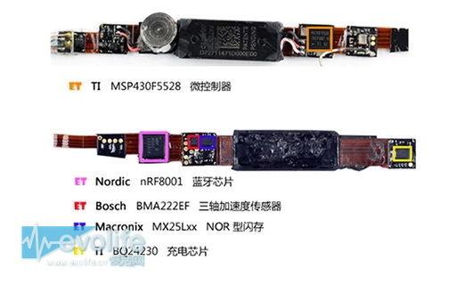 Jawbone两代UP手环PCB板上有Bosch三轴加速度计BMA222EF