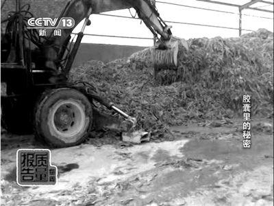 铲车在翻搅生产工业明胶的皮革边角料。