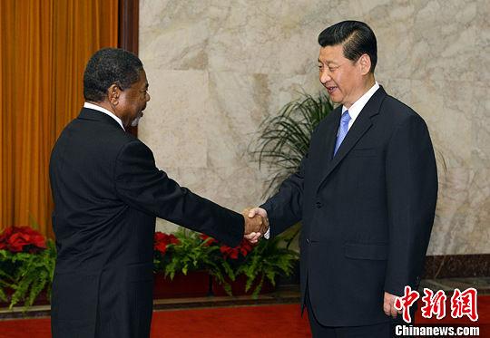 5月28日,中国国家主席习近平在北京人民大会堂会见坦桑尼亚联合共和国总统桑给巴尔。中新社发 刘震 摄